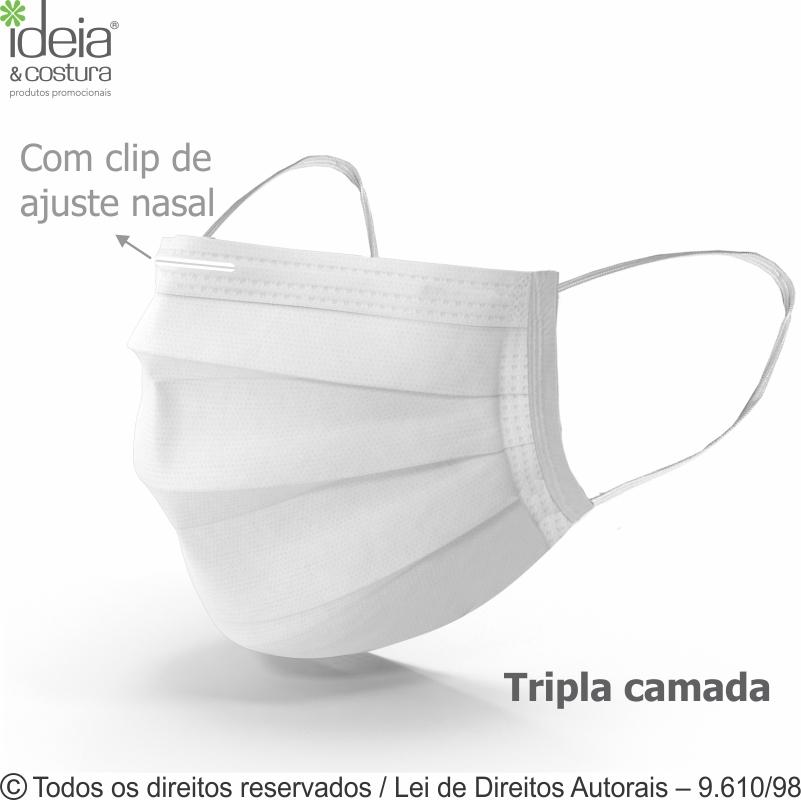 MASCARA TNT TRIPLA PROTEÇÃO COM CLIPE AJUSTE NASAL 17,5x9CM COM ELÁSTICO MC804