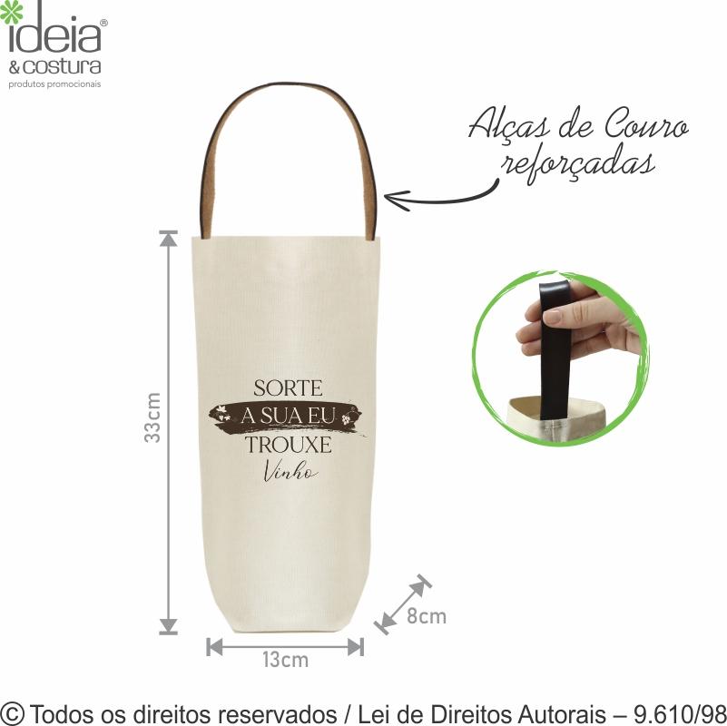 PORTA VINHO DE LONA NATURAL CRU 13X33X8CM 4L1-1